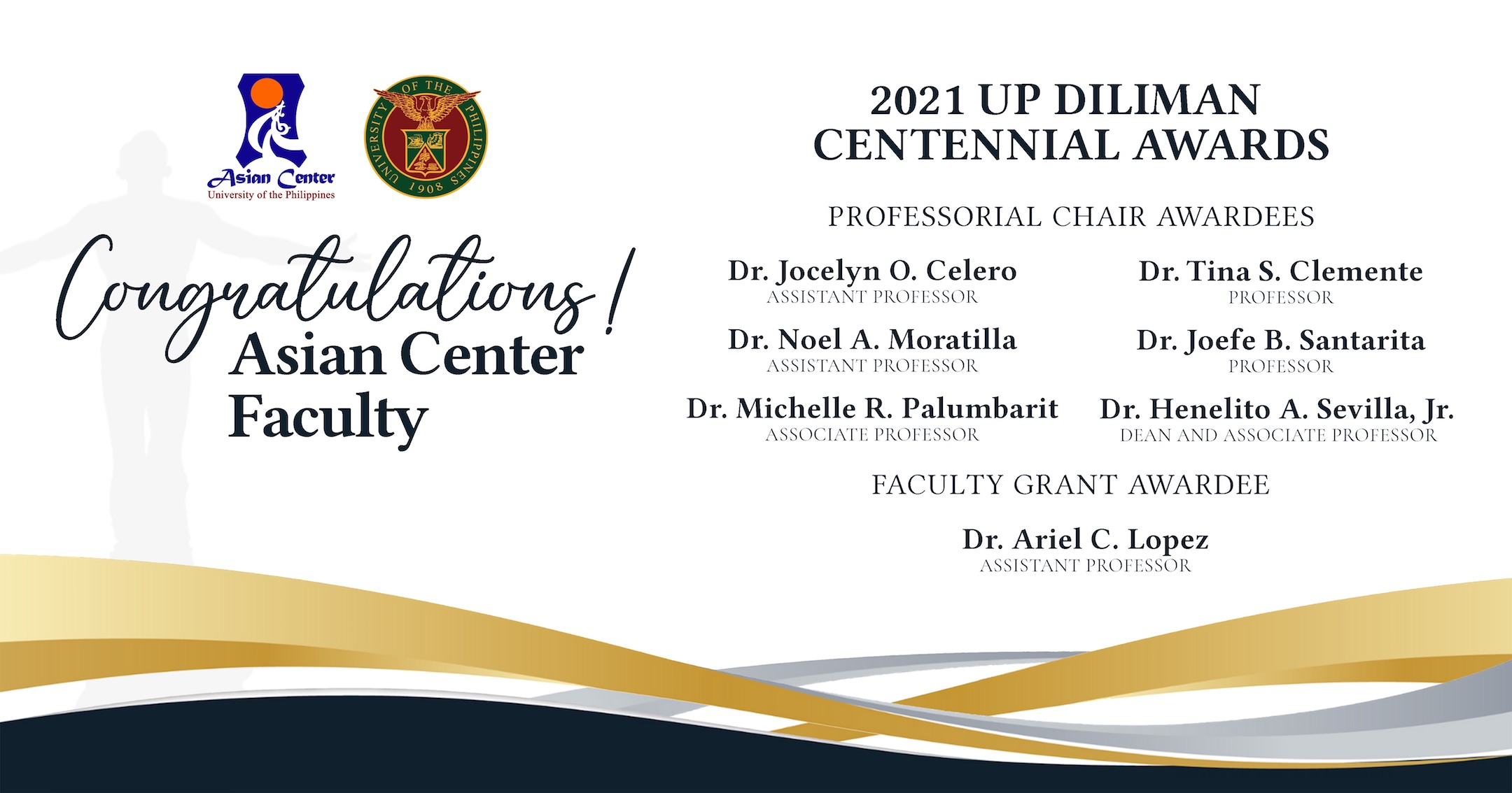 Seven UP Asian Center Faculty Recognized for their Research and Mentoring Efforts