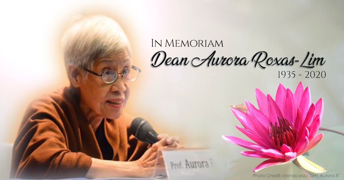 Professor Aurora Roxas-Lim, Former Dean of the UP Asian Center, Passes Away at 84