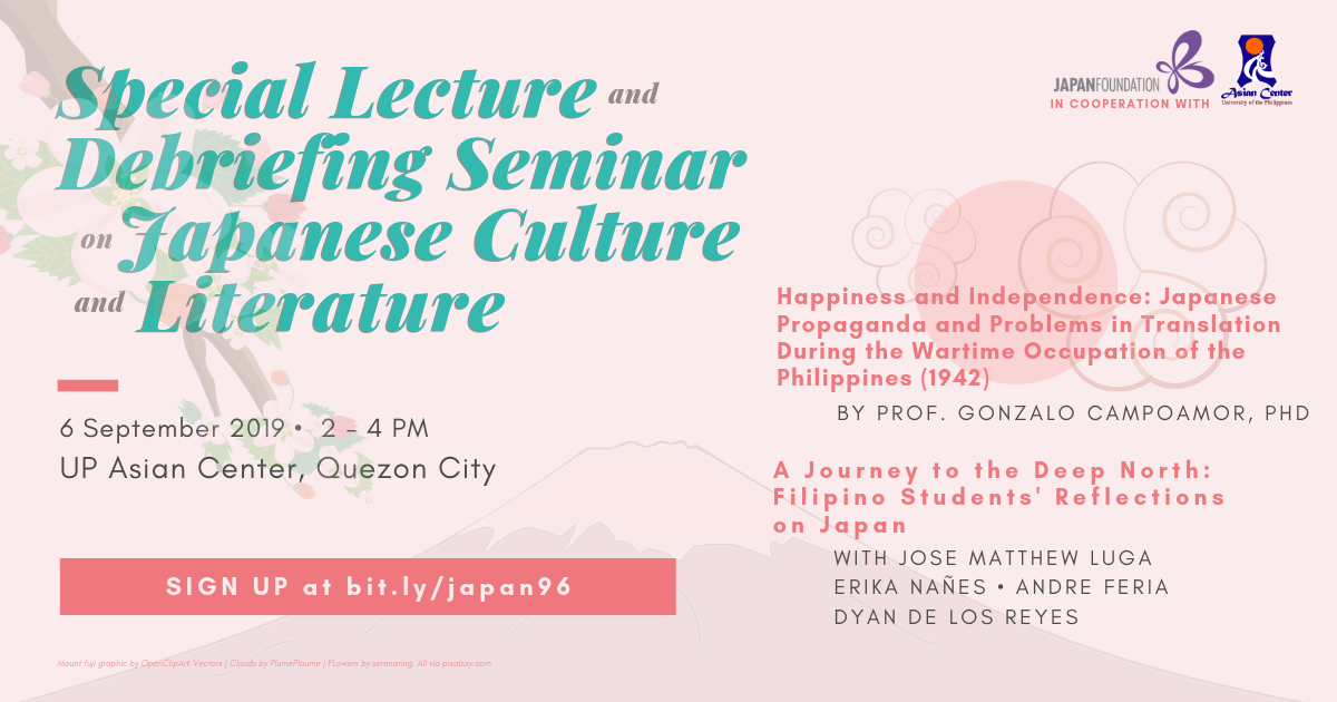 Special Lecture and Debriefing Seminar on Japanese Culture and Literature
