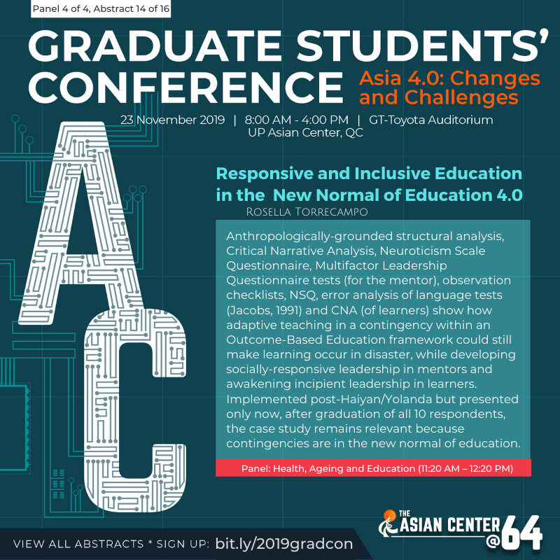 Asia 4 0 The 2019 Graduate Students Conference Up Asian Center