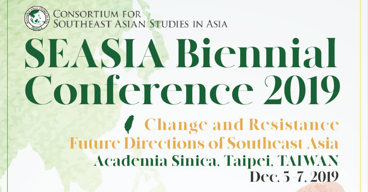 Call for Papers: Southeast Asian Studies in Asia Conference (SEASIA 2019), Taipei, 5–7 December 2019